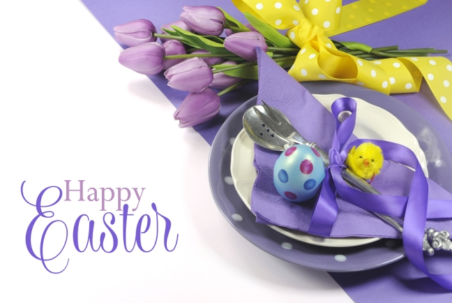 Happy Easter Yellow And Purple Mauve Lilac Theme Easter Table Pl