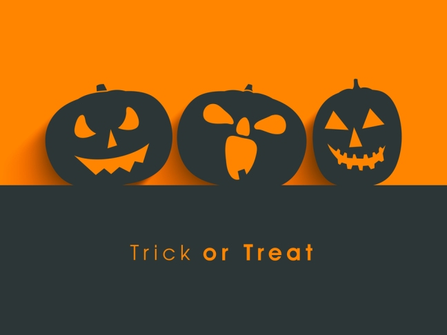 Poster, banner or background for Trick or Treat Halloween Party